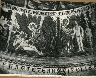 Venezia. Basilica di S. Marco (vestibolo). La creazione di Eva, dettaglio della prima cupola (mosaico del XII secolo)