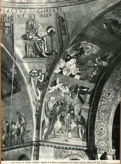 Venezia. Basilica di s. Marco. Un pennacchio della Cupola centrale (mosaico del XII secolo)