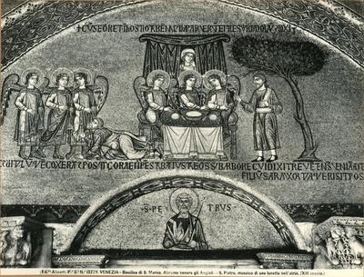 Venezia. Basilica di S. Marco. Abramo venera gli Angioli. S. Pietro, musaico di una lunetta nell'atrio (XIII secolo)