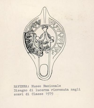 Ravenna: Museo Nazioneale. Disegno di lucerna rinvenuta negli scavi di Classe 1979