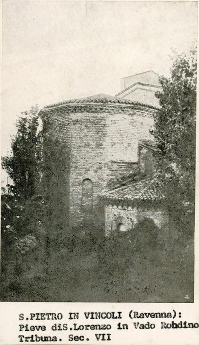 San Pietro in Vincoli (Ravenna): pieve di San Lorenzo in Vado Robdino. Tribuna. Sec. VII
