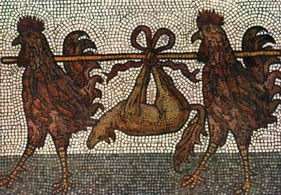 Venezia. Basilica di S. Marco. Pavimento a Mosaico XII sec. Due galli che portano una volpe infilata in in bastone. Pavimento transetto sinistro.