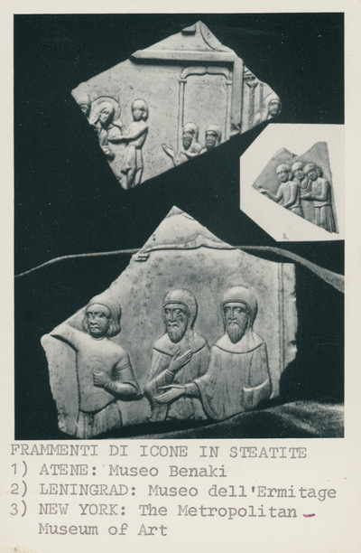 Frammenti di icone in steatite: 1) Atene, Museo Benaki; 2) Leningrad, Museo dell'Ermitage; 3) New York: the Metropolitan Museum of Arte