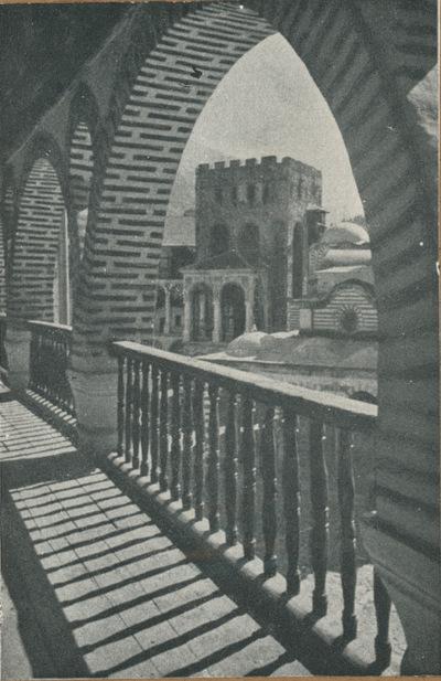 Rila (Bulgaria). Monastero. Veduta sulla galleria dell'ala nord
