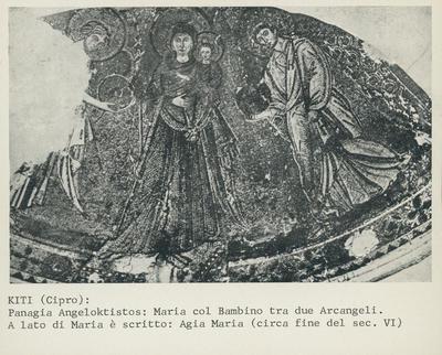 Kiti (Cipro): Panagia Angeloktistos: Maria col Bambino tra due Arcangeli. A lato di Maria è scritto: Agia Maria (circa fine del sec. VI)