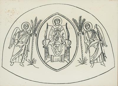 Lythrangomi (Cipro). Panagia Kanakaria: Ricostruzione della composizione absidale (Ihm, p. 60, Fig. 12)