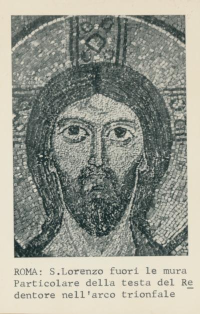 Roma: S. Lorenzo fuori le mura. Particolare della testa del Redentore nell'arco trionfale