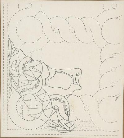 S. Croce Camarina: basilica bizantina della Pirrera. Schema grafico del mosaico all'angolo nord-ovest dell'aula centrale