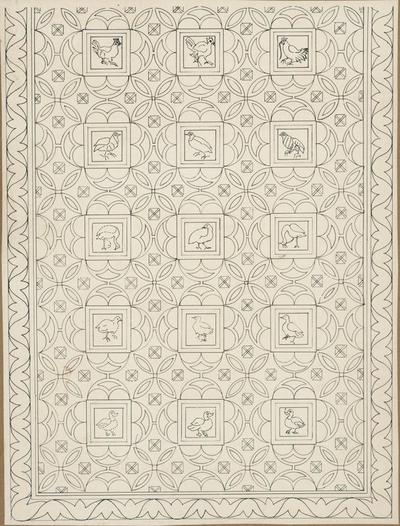 S. Croce Camarina: basilica bizantina della Pirrera. Ricostruzione grafica del settore anteriore del mosaico dell'aula sinistra