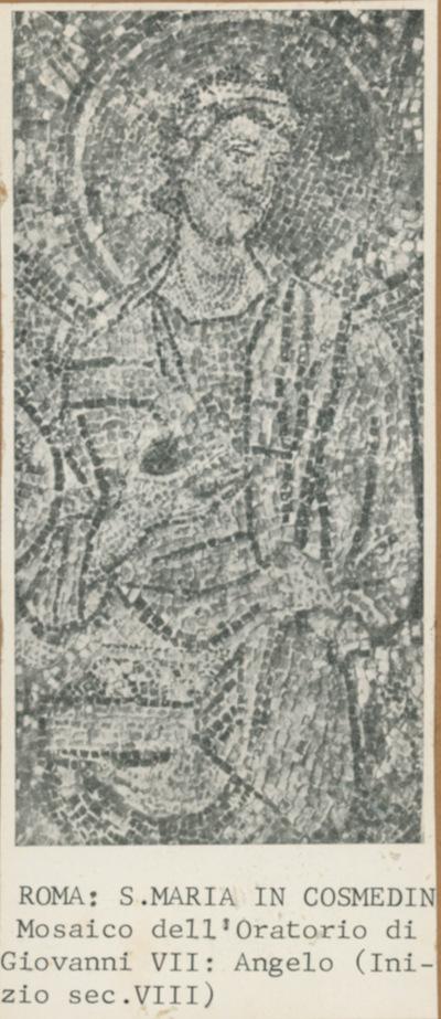 Rome, S. Maria in Cosmedin. Mosaico dell'Oratorio di Giovanni VII: Angelo (inizio sec. VIII)