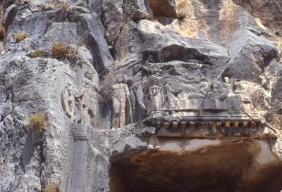 Myra, rock-cut tombs, detail of the upper decorated frieze on the entrance