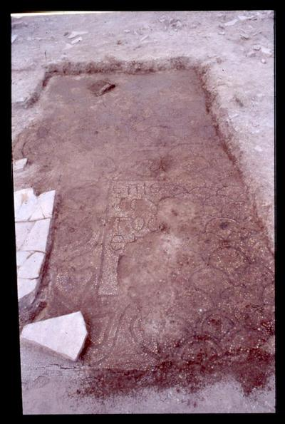 Crete, Gortys, Basilica of Mitropolis, mosaic floor with fragmentary inscription (during excavation)