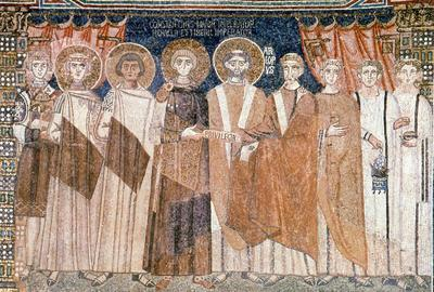 Mosaic panel portraying the Byzantine Emperor Constantine IV granting privileges to the Ravenna's archbishop and his envoy, Sant'Apollinare in Classe, Ravenna, Italy
