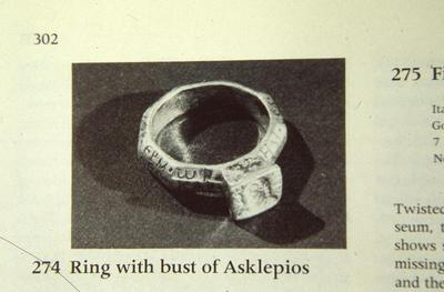 Ring with octagonal inscribed band and engraved inscribed bezel with Asclepius's bust and snake, Virginia Museum of Fine Arts, Richmond, USA