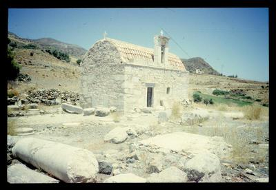 Church of Ayios Ioannis built on the site of the former Early Byzantine basilica, Lentas-ancient Lebena, Crete, Greece, 1992