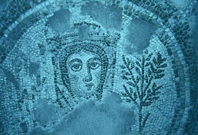 Italy, Taranto, Museo Archeologico Nazionale, mosaic panel with Season allegory within a clipeus