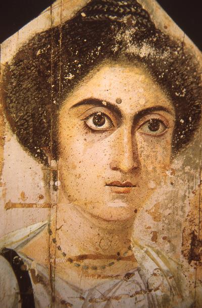Italy, Florence, Museo Archeologico, Faiyum mummy female portrait