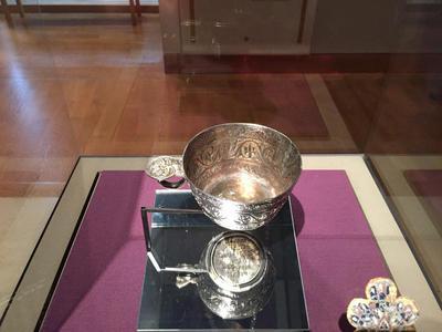 Bulgaria, Archaeological Museum of Preslav, Preslav Treasure, silver cup with greek inscription