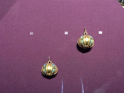 Bulgaria, Archaeological Museum of Preslav, Preslav Treasure, two gold cloisonné buttons