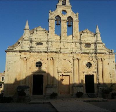 Moni Arkadiou, facade of the church
