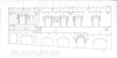 L'albergo della lingua di Francia Schema della facciata e progetto di restauro