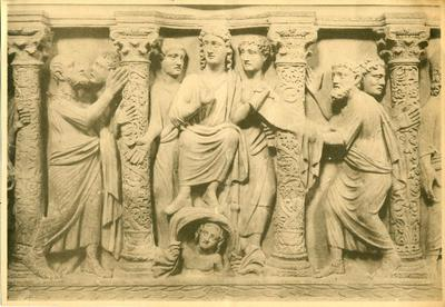 Rome, Museo Pio Cristiano, detail of the cast of sarcophagus with Traditio Legis scene