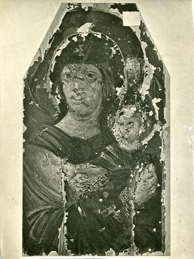 Madonna col bambino. Tavola del V-VI secolo nel Museo dell'Accademia Ecclesiastica di Kiev
