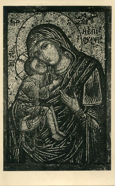 Musée Byzantin d'Athènes - 145. Mosaïque portative de la Vierge tenant l'Enfant. Apportée d'Heraclie par les refugiés (XIV s.)