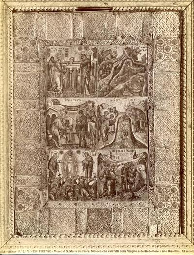 (Ed.ne Alinari). P.e 2.a N.° 4254. Firenze - Museo di S. Maria del Fiore. Mosaico con vari fatti della Vergine e del Redentore. (Arte Bizantina XI secolo.)