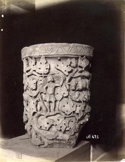 Istanbul, Archaeological Museum, drum of a carved column with phytomorphic elements, animals and human fugures