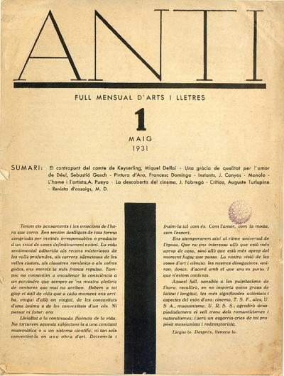 Anti : Full mensual d'arts i lletres