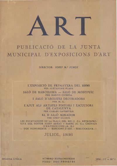 Art : publicació de la Junta Municipal d'Exposicions d'Art