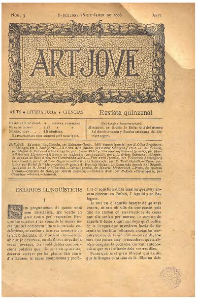 Art jove : arts, literatura, ciencias