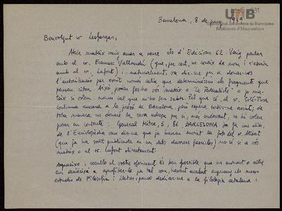 Carta manuscrita de Josep Maria Pujol i Sanmartín a Bernard Lesfargues