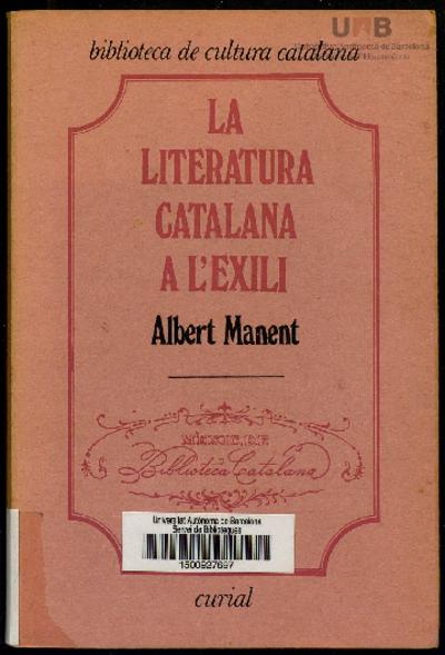 Dedicatòria d'Albert Manent a Jordi Arbonès