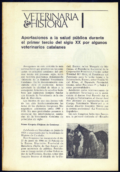 Aportaciones a la salud pública durante el primer tercio del siglo XX por algunos veterinarios catalanes