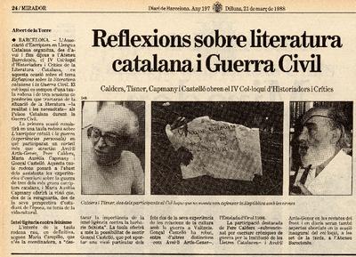 Reflexions sobre literatura catalana i Guerra Civil. Calders, Tísner, Capmany i Castelló obren el IV Col·loqui d'Historiadors i Crítics