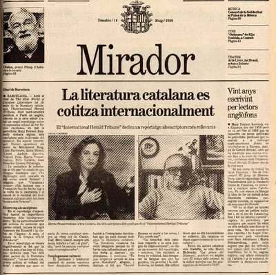 La literatura catalana es cotitza internacionalment. El 'International Herald Tribune' dedica un reportatge als escriptors més rellevants