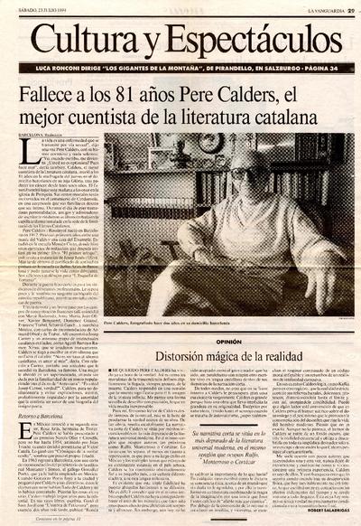 Fallece a los 81 años Pere Calders, el mejor cuentista de la literatura catalana