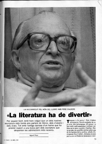 'La literatura ha de divertir': Un recorregut pel món del llibre amb Pere Calders