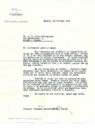 Carta de Fernando Martín-Sánchez Juliá a Ramón Ortiz Fornaguera