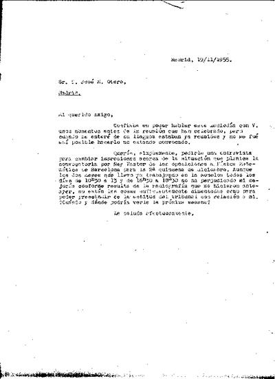 Carta de Ramón Ortiz Fornaguera a José María Otero Navascués