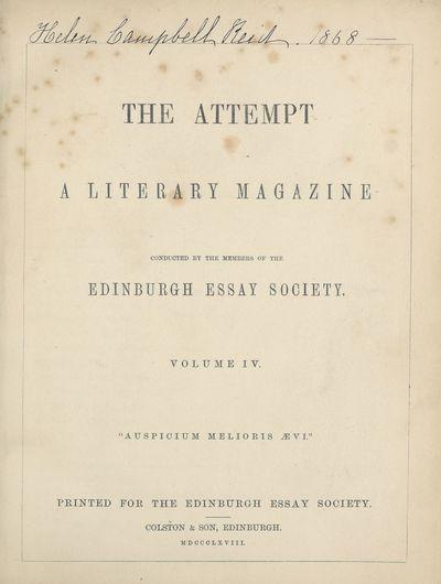 Ladies' Edinburgh Debating Society publications; Volumes 1 (1865)-10 (1874) - Attempt; Volume 4