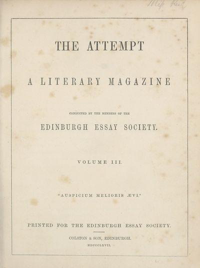 Ladies' Edinburgh Debating Society publications; Volumes 1 (1865)-10 (1874) - Attempt; Volume 3
