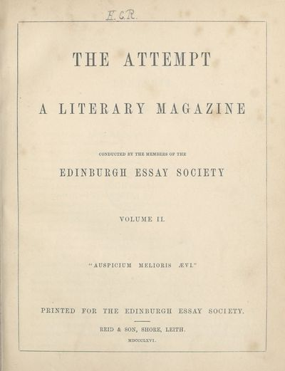 Ladies' Edinburgh Debating Society publications; Volumes 1 (1865)-10 (1874) - Attempt; Volume 2