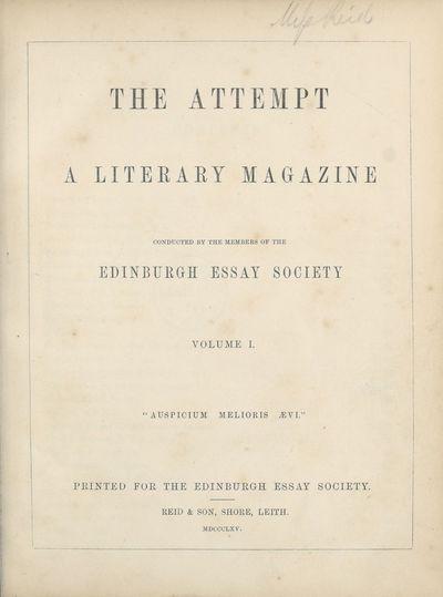 Ladies' Edinburgh Debating Society publications; Volumes 1 (1865)-10 (1874) - Attempt; Volume 1 and Select writings