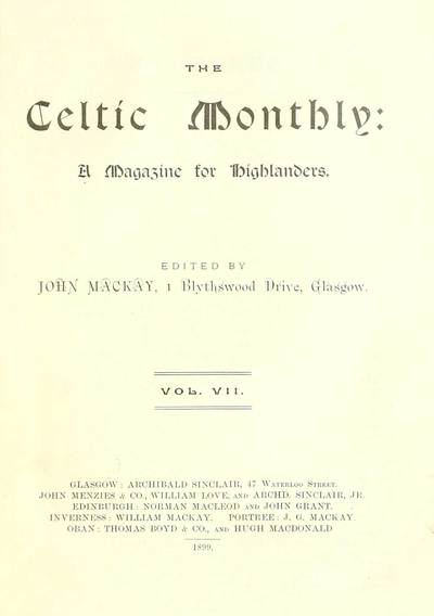 Blair Collection; Celtic monthly; Volume 7, 1899