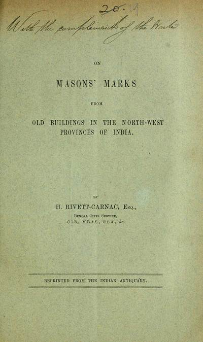 Masons' marks from old buildings in the north-west provinces of India