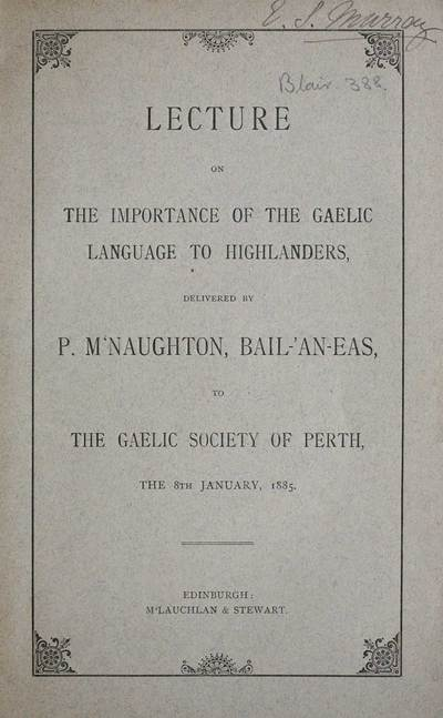 Lecture on the importance of the Gaelic language to Highlanders