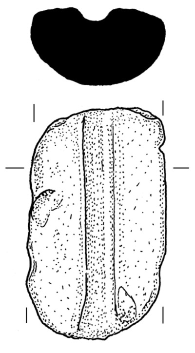 Clay mould of ball-headed pin from Dun Aonghasa, Pin 1, Upper valve, find no. 618.
